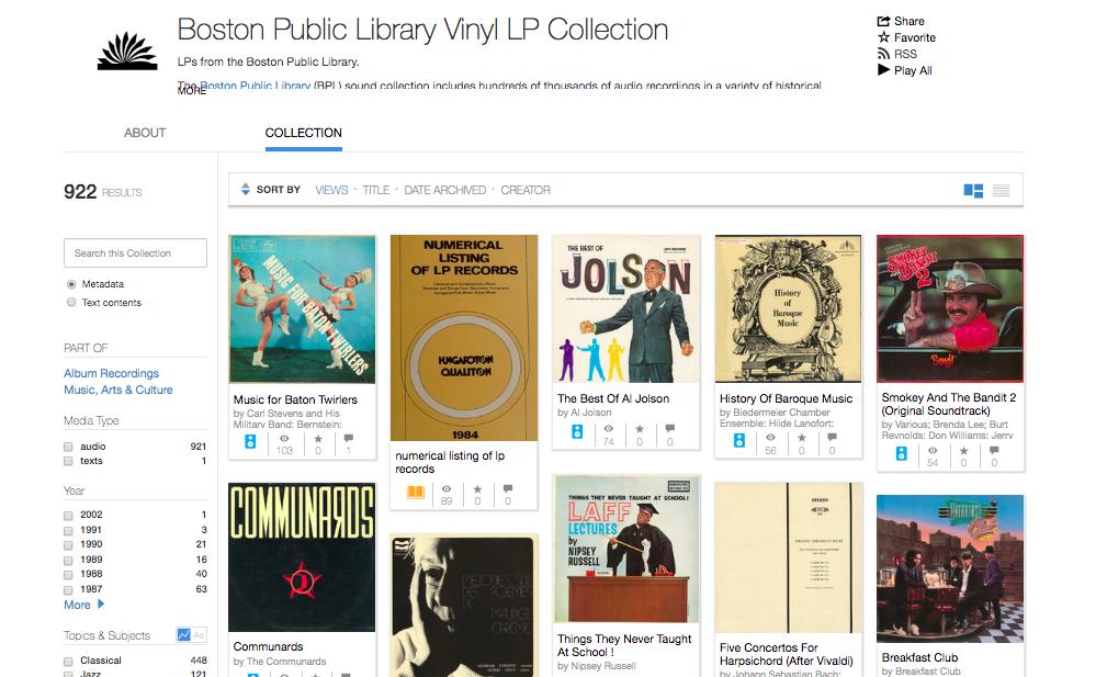 «Архив интернета» опубликовал 100 тысяч раритетных аудиозаписей из запасников Бостонской публичной библиотеки