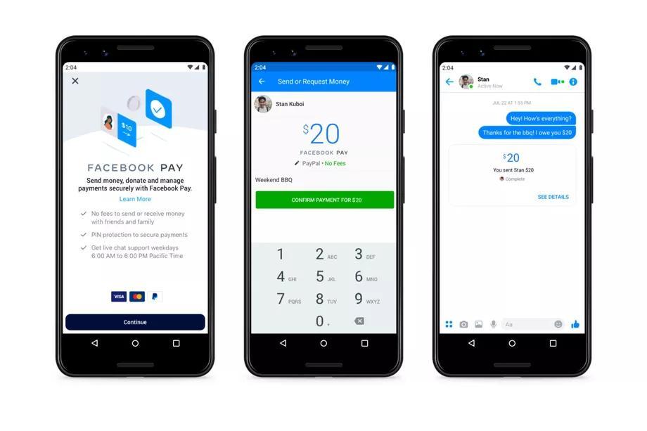 Компания Facebook запустила сервис электронных платежей для инстаграма, вотсаппа и мессенджера